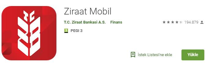 Ziraat Mobil uygulama indirme